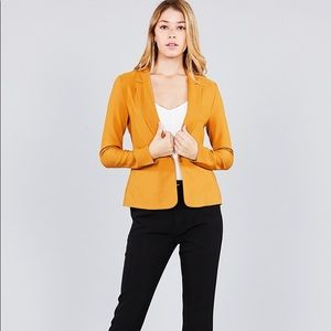 Ladies fashion long sleeve notched collar